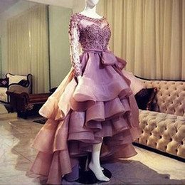 $enCountryForm.capitalKeyWord Australia - Sweet Organza High Low Ball Gown Evening Dress 2019 New Lace Appliques Bow Sashes Prom Dresses Scoop Collar Sweep Train Prom Gowns