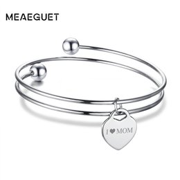 Silver Id Bracelets For Women NZ - angles for women Meaeguet Free Engraving Heart ID Bracelet & Bangle For Women Silver Color Stainless Steel Personalized Layered Lover...