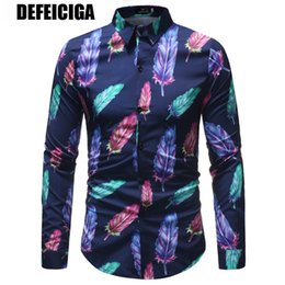 Discount down feathers for clothing - New Men's Long Sleeve Casual Shirt Fashion Feather Printed Floral Shirt Turn-down Collar Slim Fit for Mens Clothing