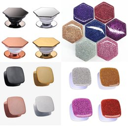 hexagon glitters UK - 4 Styles Universal Hexagon Plating Glitter Square Shape Cell Phone Holder Grip Airbag Expandable Grip Phone Holder 3M Glue Opp Bag Package