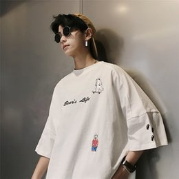 2019 Summer Men's Fashion Trend Animal Pattern Ropa de algodón Manga corta Blanco / marrón / azul / rosa Camisetas de alta calidad M-XL SH190829