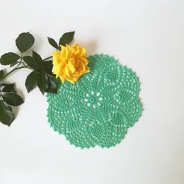 "$enCountryForm.capitalKeyWord Australia - handmade crocheted doilies Vintage White flower,6PCS table mat Table Napkin cup Pad vase mat coaster 17.5cm 7"""