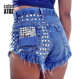 $enCountryForm.capitalKeyWord NZ - Catonatoz 1993 Women's Fashion Brand Vintage Tassel Rivet Ripped High Waisted Short Jeans Punk Sexy Hot Woman Denim Shorts SH19062601