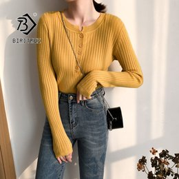 Sweater knit tightS online shopping - 2019 Autumn New Women s Pullovers Sweater Knitting Slim Tight Button Design Korean Female Fashion Elegant Casual Tops T97424d SH190717