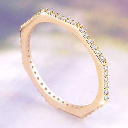 $enCountryForm.capitalKeyWord Australia - Fashion6 hexagons Jewelry2mm Women Wedding Rings Rose Gold Color Rings With Multi Small Crystal Simple ring mens