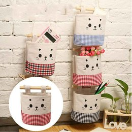 wholesale stuffed animal cat Australia - Canvas Cat Wall Door Closet Hanging Storage Bag Pocket Linen&Cotton Cartoon Cute Home Organizer Stuff Sacks