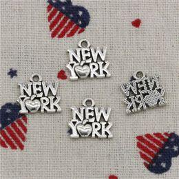 $enCountryForm.capitalKeyWord Australia - Wholesale- 278pcs Charms heart New York 14*14mm Pendant,Tibetan Silver Pendant,For DIY Necklace & Bracelets Jewelry Accessories