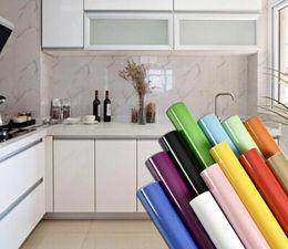 Furniture Film online shopping - Kitchen Cabinet Waterproof Wallpaper Pearl White DIY Decorative Film PVC Self adhesive Wall paper Furniture Renovation Stickers