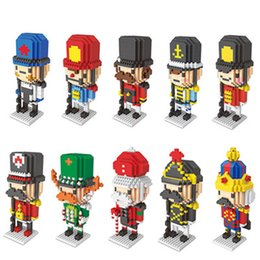 Miniature toys online shopping - Decoration Dolls Christmas Nutcracker British Soldier Gift Toy Plastic Micro Diamond Particles Miniature Building Blocks Nutcracker Gift