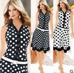 Black Lapel Sleeveless Zipper Australia - women Flipped collar sleeveless undulated dress large pendulum with belt Party Dresses Shirt Vestidos