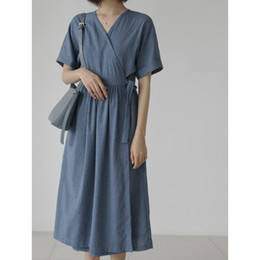 youth summer clothing NZ - Small Fresh Simple Womens Dresses Summer V Neck Bandage Loose Women Dress Solid Color Youth Clothing