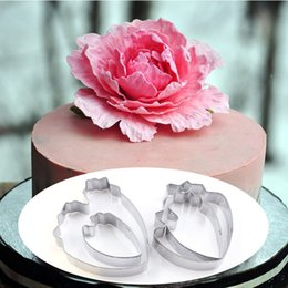 $enCountryForm.capitalKeyWord Australia - 4pcs set Peony Flower Cookie Cutter Set 3D Sugarcraft Fondant Cake Pastry Biscuit Baking Mold DIY Cake Decorating Tools