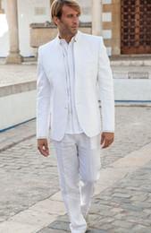 f20ca1d2b113 Latest Coat Pant Designs White Stand Collar Simple Tuxedos Vintage Men Suit  For Wedding Slim Summer Beach Jacket+pants C19041601