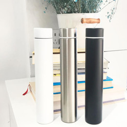 Double Walled Insulated Tumblers NZ - Slender Water Bottles Stainless Steel Black White Silvery Double Wall 10 oz Tumblers Vacuum Insulated Cylindrical Creative Water Bottle