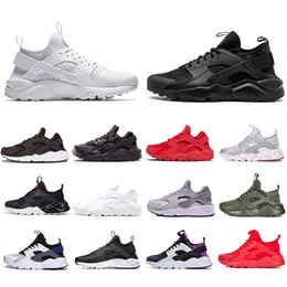 Dark reD huaraches online shopping - 2019 Triple White Black Huarache Running Shoes Classical red men women Huarache Shoes Huaraches Trainer sports Sneakers