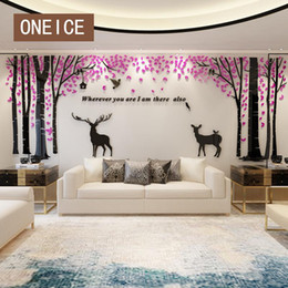 large forest wall stickers Australia - Forest Deer Creative Super Large Acrylic 3d Stereo Wall Stickers Clock Wallpaper Living Room Bedroom Tv Background Decoration