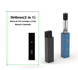 Großhandel Orthrus Vapes Batterie 2in1 Geeignet für Einweg-Pods 510 Dickes Öl dank Carts Cartridges Vape pen Mods Janus elektronische Zigarette