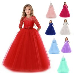 Red Tutus For Sale Australia - Hot Sale Girls Ball Gown Long Sleeve Evening Dresses Lace Princess Dresses Kids Wedding Dresses Party Costumes for Children