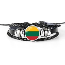 $enCountryForm.capitalKeyWord UK - High Quality Geunine Leather Rope Beads Charm Jewelry Lithuania National Flag World Cup Football Fan Time Gem Glass Cabochon Button Bracelet