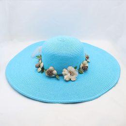 $enCountryForm.capitalKeyWord Australia - Large Wide Brim Hats Organza Flower Sun Hats Ladies Kentucky Derby Wedding Party Dress Floppy Summer Hats for Women