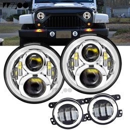 "halo headlamps UK - 7"" Inch Round LED Halo Headlight Bulb Lamp For JK TJ LJ H1 H2 LED Headlamp Projector DRL For car"