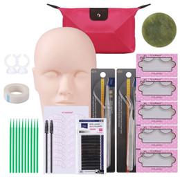 kit extensions Australia - Professional 12pcs set Makeup Tool Kit Training Head Model False Eyelashes Extension Practice Silicone Mannequin Head J190709