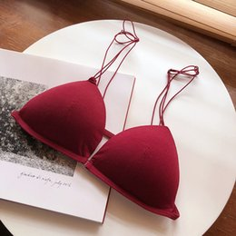 clear bra straps wholesale Australia - Women's Underwear Sexy Women Push Up Bra Set Comfort French Thin Deep V Triangle Cup No Rims Bra
