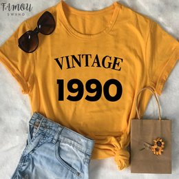 birthday party t shirts Australia - Vintage 1990 Birthday Party V Neck Tshirt Streetwear 30Th T Shirt Women Plus Size Cotton Lady Clothes Fashion O Neck Short Sleeve