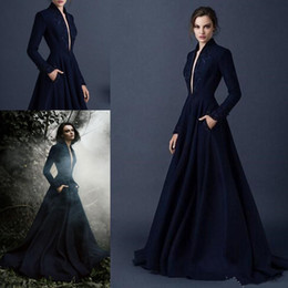 paolo sebastian silver Australia - Navy Blue Satin Evening Dresses Embroidery Paolo Sebastian Dresses Custom Made Beaded Formal prom Wear outfit Plunging V Neck Ball Gowns
