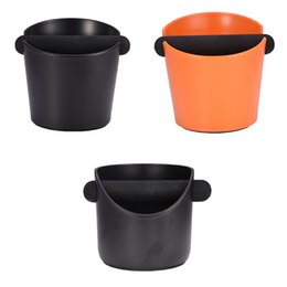 handle baskets wholesale UK - ABS Coffee Knock Box Espresso Grounds Container for Barista + Non-slip Base With Handle Coffee Residue Bucket Grind Waste Bin