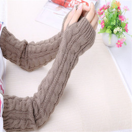 Long sLeeve gLove online shopping - Women Winter Arm Warmers Fingerless Long Gloves Solid Warm Mittens Elbow Knitted Sleeves Cycling Glove