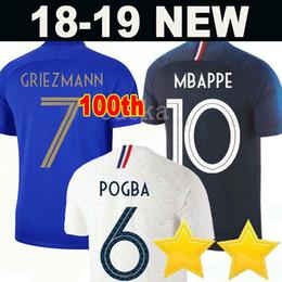 France soccer jersey football shirt 2019 França camisa de futebol 100º aniversário de 100 anos 2 estrelas New Jersey Futebol 2018 da equipe da Copa do Mundo Griezmann Mbappé