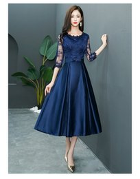 Modest Coral Party Dress Australia - Vintage Tea Length Navy Blue Lace Short Modest Bridesmaid Dresses With 3 4 Sleeves A-line Lace Satin Bridesmaid Informal Wedding Party Dress