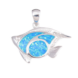 $enCountryForm.capitalKeyWord UK - wholesale Created Blue Fire Opal Fish Silver Plated Wholesalel Hot Sell Fashion for Women Jewelry Gift Pendant 28mm OD7050