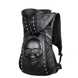 $enCountryForm.capitalKeyWord Australia - New 2019 Fashion Personality 3D Skull Leather Backpack Rivets Skull Backpack With Hood Cap Apparel Bag Cross Bags Hiphop Man