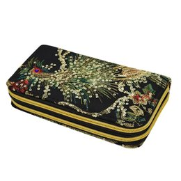 Clutches Ethnic High-capacity Zipper Peacock Embroidery Women Long Wallet Retro Casual Coin Purse Clutch Phone Bags Excellent Quality