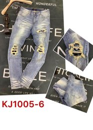 men ripped jeans size 38 Australia - Wholesale slp blue black destroyed mens slim denim straight biker skinny jeans Casual Long men ripped jeans Size 28-38 free shipping 6215