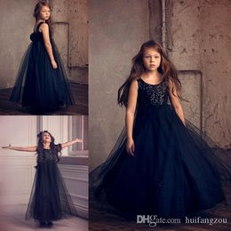 $enCountryForm.capitalKeyWord Australia - Flower Girl Dresses Navy Blue For Wedding Free Shipping 3D Flower Beads Square Neck Sleeveless Party Wears Floor Length Pageant Ball Gowns
