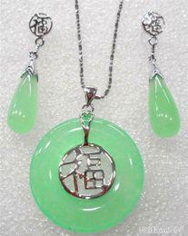 light green bracelet 2019 - Wholesale price 16new ^^^^Natural Light Green stone 18KWGP Fortune Round Pendant Necklace Drop Earrings Set cheap light