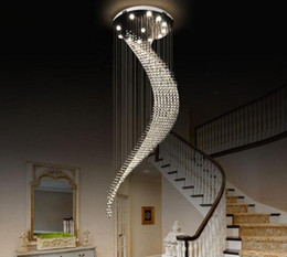 Discount moon led ceiling light Crystal Chandeliers Light large moon shape Fixtures Modern Ceiling Lamp for Living Room Hotel hall long Stair pendant La