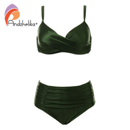 $enCountryForm.capitalKeyWord Australia - Andzhelika High Waist Bikinis Women Swimwear Summer Solid color high-grade fabric bikini Set Plus Size Swimwear Bathing Suit