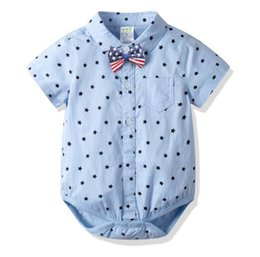 Uk Clothes Australia - Baby Boy clothing summer 100% cotton romper Turn Down Collar gentleman UK Little Stars Print short sleeve romper Baby formal clothing