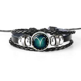 $enCountryForm.capitalKeyWord NZ - Creativity Handmade Braided Leather Rope Beaded Bracelet 12 Constellations Zodiac Aries Time Gem Glass Jewelry for Womens Mens Gift 2019 New
