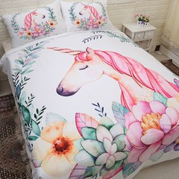 $enCountryForm.capitalKeyWord Australia - BEST.WENSD Olive Unicorn Rainbow colors 3D Bedding Set Printed Duvet Cover Set Queen King Full Twin Size bed 3pcs-no sheet