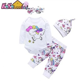 white infant headband 2020 - Newborn Baby Girl Clothes Sets Infant Outfits Cotton Long Sleeve Bodysuit Tops+Pants+Hat+Headband Cute 4PCS Toddler Clot