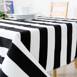Canvas table Covers online shopping - Cheap Price Black and White Striped Table Cloth Canvas Tablecloth Table Cover Cloth for Dining Room
