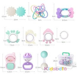 baby jingle bell toy NZ - 9PCS Rattle Baby 0-12 Months Jingle Shaking Bell Infant Toys For Newborns Rattles Teether Grip Handbell Toy With Box Y200111