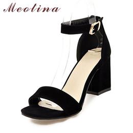 $enCountryForm.capitalKeyWord Australia - Meotina Women Shoes Sandals Summer Ankle Wrap Sandals High Heels Chunky High Heel Work Shoes Black Beige Red Big Size 10 42 43 Y19070503