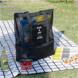Picnic handbag online shopping - Camping Equipment Picnic Bag Portable Single Shoulder Lunch Bags Double Deck Storage Outdoor Handbag Motion Grid Student zm N1