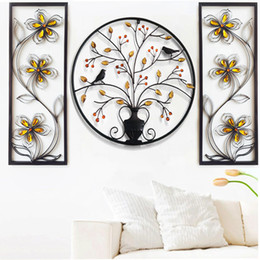 birds home picture UK - Modern 3d Wall Plaque Iron Bird Tree Home Metal Wall Frame Living Room Picture frame For Home Bar Decoration Big Hangings